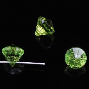 Beads, Imitation Crystal beads, Acrylic, Bright green, Faceted Teardrops, 12mm x 12mm x 13mm, 20g, 30 Beads, [SLZ0683]